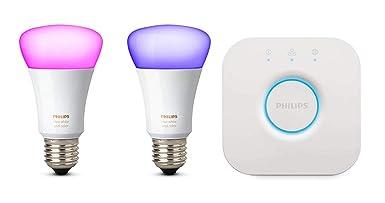 Philips Hue White und Color Ambiance E27 LED Lampe Starter Set, zwei Lampen 4. Generation, dimmbar, steuerbar via App, kompat