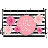 COMOPHOTO Photography Backdrop Happy Mother's Day Theme Photo Background 7x5ft Polyester Black and White Stripes Pink Flower Party Backdrops for Photo Studio Props