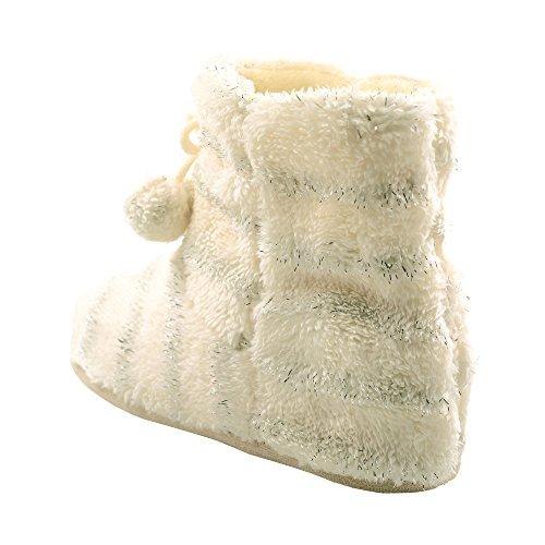 Q-plus Autunno Inverno Caldo Donna Comoda Scarpetta Pile Velluto Superiore Tpr Gomma Suola Interna Bianca