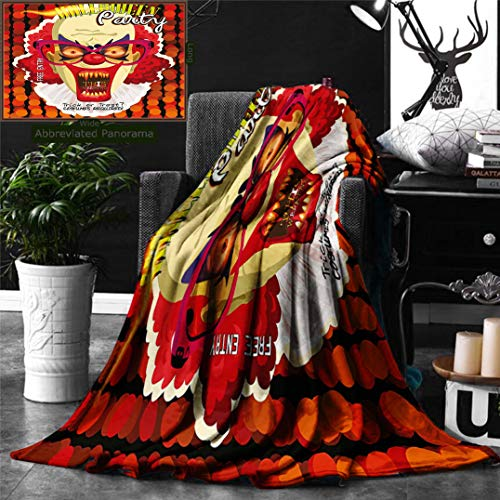 Ralahome Unique Custom Digital Print Flannel Blankets Halloween Decor Modern Contemporary Party Clown Geometrical Round Ombre Backd Super Soft Blanketry Bed Couch, Throw Blanket 70 x 50 Inches -