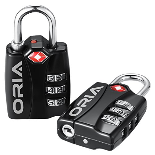 ORIA Luggage Lock, Travel Lock, TSA Approved Luggage Locks, Travel Combination Lock, Safe Padlock with Alert for Suitcases, Baggage, Backpacks, Small Cabinets, Briefcases, Computer Bags (Pack of 2) (Instructions Tsa Lock)