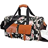 Weekend Duffle Bag Leather Overnight Bag Canvas Travel Duffel with Shoe Compartment Travel Tote Carry on Luggage (Flower - Black)