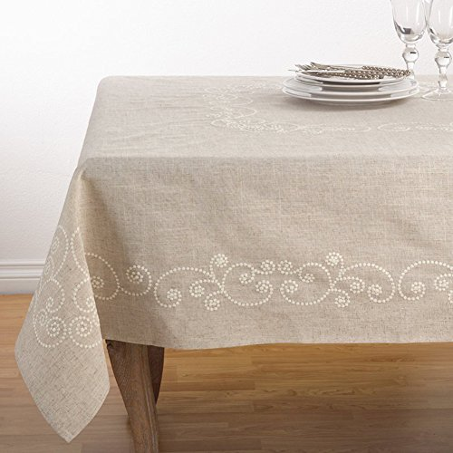 Fennco Styles Embroidered Swirl Design Natural Linen Blend Tablecloth (67''x180'' Tablecloth) by fenncostyles.com