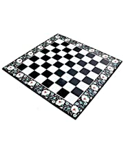 """StonKraft - 24"""" X 24"""" - Black Marble Chess Design with Inlay Work Coffee Table/ Center Table Top (Without Stand)"""