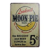 Moon Pie Brand Retro Vintage Tin Sign, Wall Metal Signs Posters for Home Kitchen Diner, 8x12 inch/20x30cm
