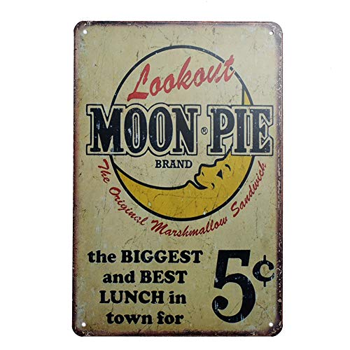 Moon Pie Brand Retro Vintage Tin Sign, Wall Metal Signs Posters for Home Kitchen Diner, 8x12 inch/20x30cm ()