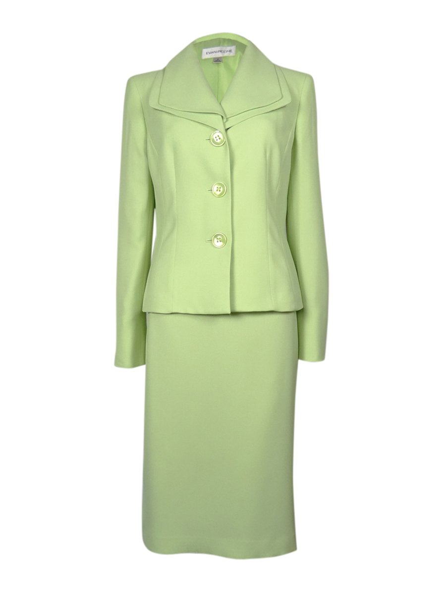 Evan Picone Solid Three Button Two-Piece Women's Skirt Suit Green 6