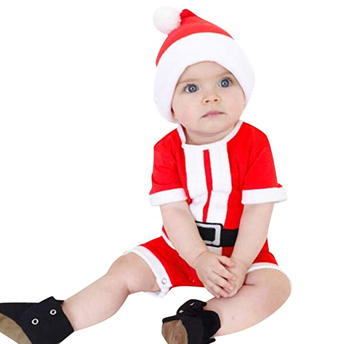 2113f67b7386 Baby Boy Girl Unisex Clothes Set for Christmas, Weant Newborn Baby Clothes  Xmas Print Rompers + Hats 2pcs Christmas Costumes Clothing Set for Toddler  Infant ...