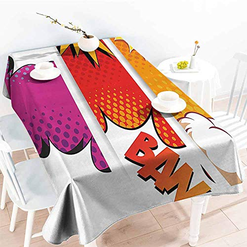 FANOEWI Creative Rectangle Tablecloth Superhero Comic Strip Bubbles Backdrop in Figure Logo Fantasy Fiction Theme Red Fuchsia Earth Yellow Buffet,Parties,Holiday Dinner,Picnic ()