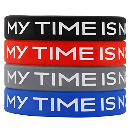 (Sainstone My TIME is Now Popular Motion Energy Silicone Bracelets, Red Black Grey Blue Multicolor- Inspirational Motivational Wristbands - Adults Unisex Gifts Teens Men Women (4pcs))