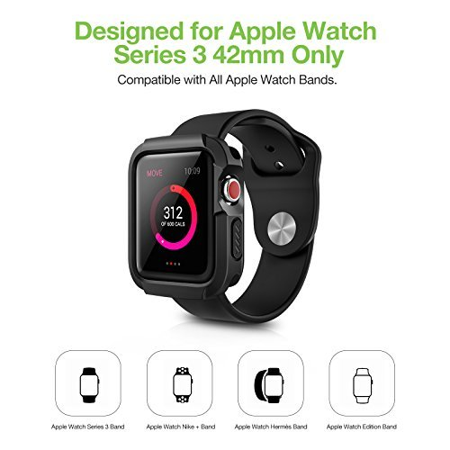 Apple Watch 3 Case, iVAPO 2-Pack Apple Watch Case with Screen Protector Cover Anti-scratch 360° Shock Absorption Hard Protective Bumper Case for Apple Watch Series 3 42mm Black (Need Stronger Press) by iVAPO (Image #3)