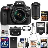 Nikon D3400 Digital SLR Camera & 18-55mm VR & 70-300mm DX AF-P Lenses (Black) 32GB Card + Case + Battery + Filters + Tripod + Flash + Kit
