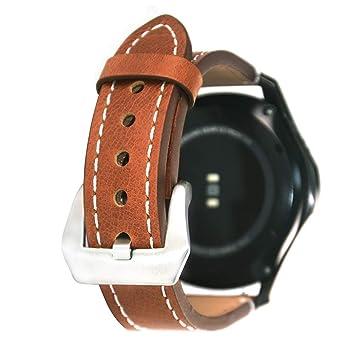 Zhuisui For Gear S3 Bands, S3 Frontier/Classic Watch Band 22 mm Correa de Cuero Genuino Suave Reemplazo Pulsera Pulsera con Hebilla de Acero ...