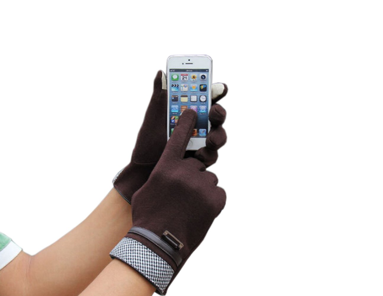 Olyer Men's Mirco Velvet Gloves Warmer Gloves With Touch Screen Finger Tip (Coffee) by Olyer (Image #2)