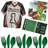 Football Party Birthday Supplies Game Day Set - Plates Napkins Tableware Utensils Cover Kit for 16