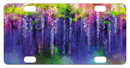 Flower Mini License Plate by Lunarable, Ornamental Wisterias Down Seed of Life Cultivation Botany Artwork Pattern Print, High Gloss Aluminum Novelty Plate, 2.94 L x 5.88 W Inches, Purple - Botany Downs