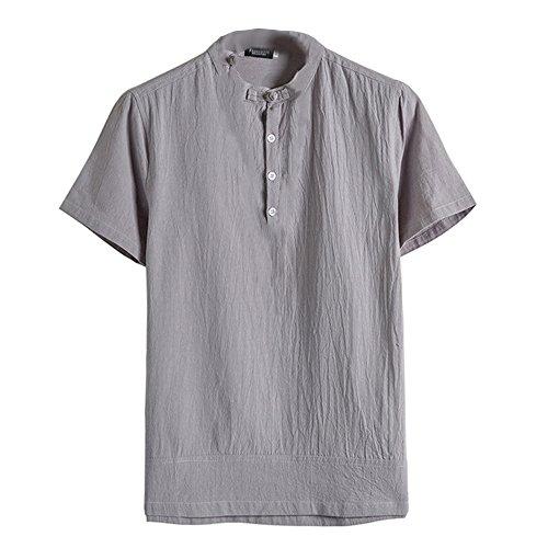 FRAUIT Kurzarm Leinen Shirt Herren Klassisches Blumenknopfhemd Classics Herren T-Shirt Shaped Long Tee Atmungsaktiv…