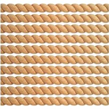 "PVS 3/4"" x 96"" Half Round (Split) Real Wood Unfinished Rope Molding Moulding Trim, Oak Wood - 10 Pack (80 Total Feet)"