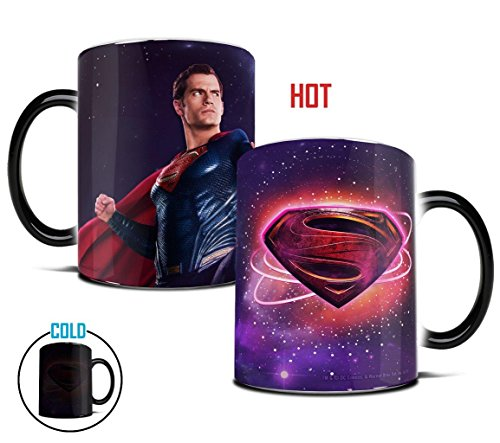 (Morphing Mugs Justice League Superman Logo Heat Reveal Ceramic Coffee Mug - 11 Ounces)