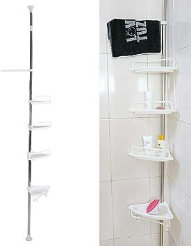 Estanteria Ducha Triángulo, Estanterías de Baño 4 Estantes Altura Ajustable Estantes para Esquinas Pared Baño Telescópica No Drill Organizador para ...