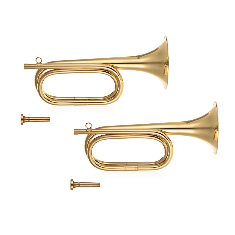 Festnight Bugle Horn, Brass B Flat Bugle Trumpet with Mouthpiece (2pcs)