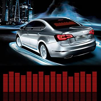 Sound Music Beat Activated Car Stickers Equalizer Glow LED Light Audio Voice Rhythm Lamp 45cm X 11cm, Red