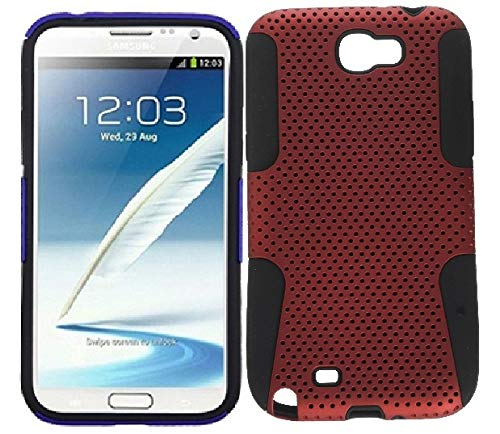 Premium Hybrid Case with Durable Hard Plastic Faceplate for Samsung Galaxy Note 2 - Red