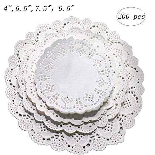 Invitation Wedding Plate (Kalolary Paper Lace Doilies Round White, 200 pcs 7.5 inch Disposable Cake Doilies Coaster, for Plates Crafts Wedding Invitation Decor)