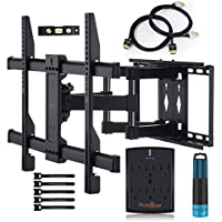 "Wall Mount TV Bracket For 37-70"" TVs - Full Motion with Articulating Arm & Swivel - Holds up to 110 lbs & Extends 16"" - Fits Plasma Flat Screen TV Monitor Includes Surge Protector by PERLESMITH"