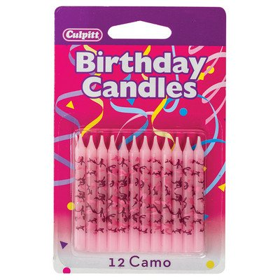Pink Camo Print Birthday Cake Candles - 12 ct (Camoflage Party Supplies)