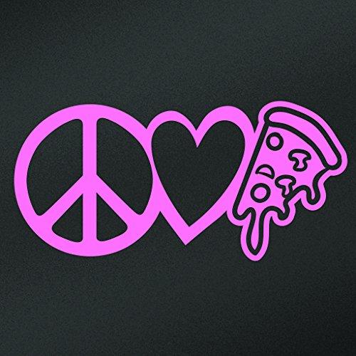 [Peace Love Pizza Vinyl Decal Sticker | Cars Trucks Vans Walls Laptops Cups | Pink | 7.5 X 3.6 Inch | KCD1638P] (Blackstone Ninja Costumes)