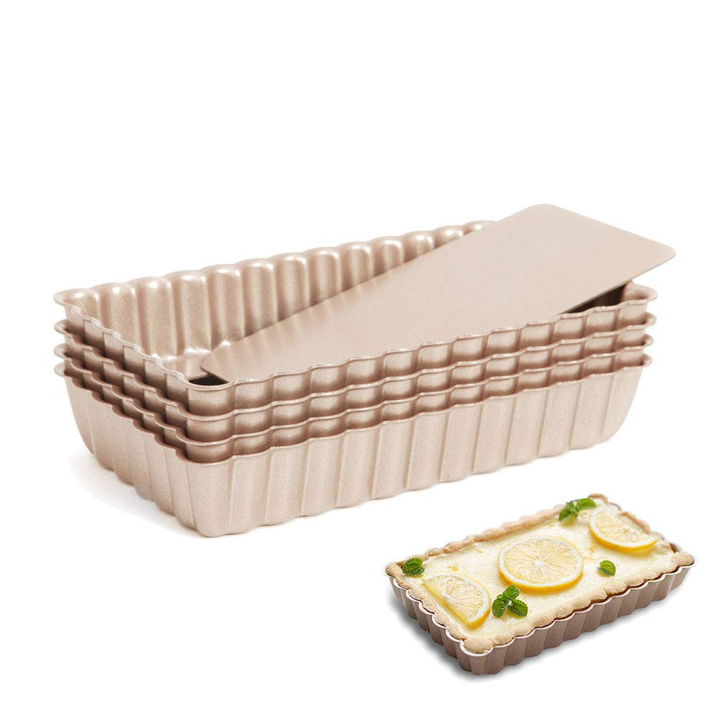 Lufeiya Mini Rectangular Fluted Tarte Pans 4 Inch 4Pcs Removable Bottom Nonstick Pies Tins Set by