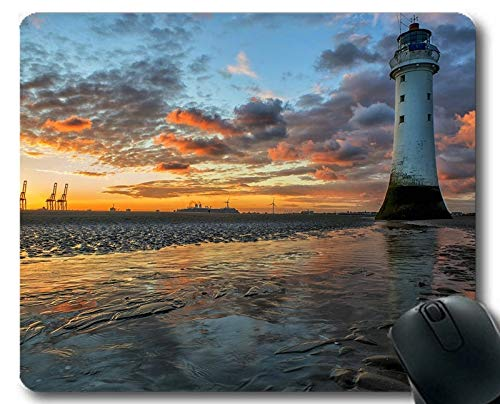 Gaming Mouse Pads,Lighthouse Under Starry Night Sky Stitched Edges Mouse pad