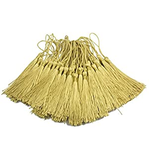 Makhry 100pcs 13cm/5 Inch Silky Floss bookmark Tassels with 2-Inch Cord Loop and Small Chinese Knot for Jewelry Making, Souvenir, Bookmarks, DIY Craft Accessory (Light Gold)