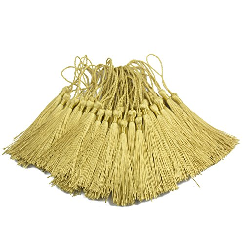 100pcs 13cm/5 Inch Silky Floss Bookmark Tassels with 2-Inch Cord Loop and Small Chinese Knot for Jewelry Making, Souvenir, Bookmarks, DIY Craft Accessory (Light Gold) ()