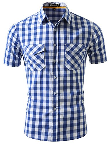 Checkered Button Up - uxcell Men Point Collar Chest Pockets
