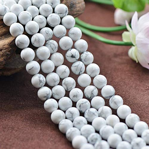 (White Howlite Turquoise With New Design 2019, Natural Stone White Howlite Turquoises 4 6 8 10 12 14mm - White Howlite Beads, Howlite Beads, White Buffalo Howlite, White Turquoise Stones)