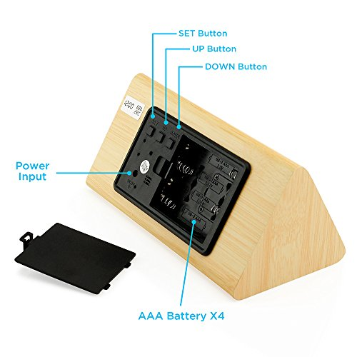 Oct17 Wooden Alarm Clock, Wood LED Digital Desk Clock, UPGRADED With Time Temperature, Adjustable Brightness, 3 Set of Alarm and Voice Control, Humidity Displaying - Bamboo by Oct17 (Image #4)