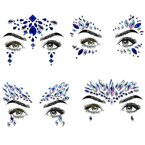 4 Sets Mermaid Face Gems Rhinestone Tattoo Festival Jewels Eyes Face Body Temporary Tattoos Glitter Temporary Tattoo Bindi Crystals Rainbow Tears Stickers -