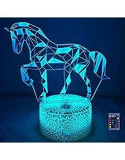 Creatieve 3D Paard Nachtlampje USB Aangedreven Afstandsbediening Raak Schakelaar Decor Tafellamp 7/16 Kleur Veranderende LED Tafellamp Verjaardagscadeau Kinderen Cadeau Decor Cadeau Kerst Decoratie