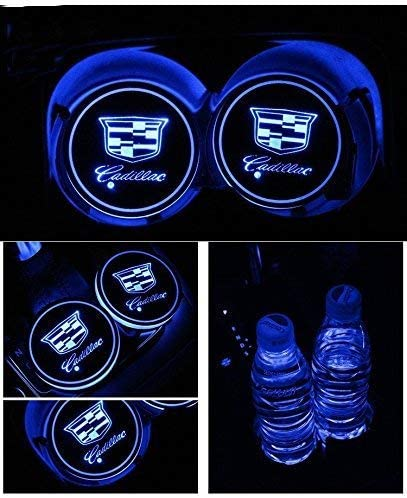 LED Car Cup Holder Lights Interior Atmosphere Lamp Decoration Light for Car with 7 Colors Changing USB Charging Mat 2 Packs