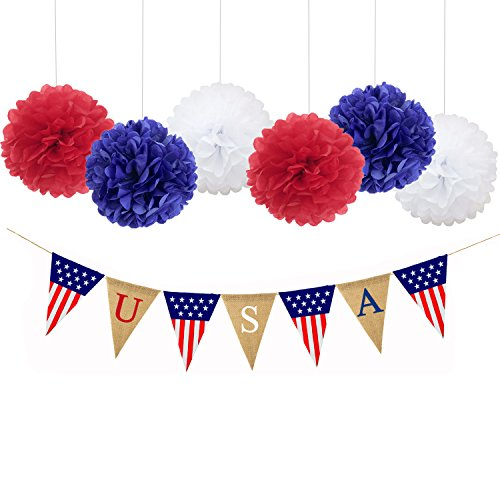 USA Patriotic Party Decorations Burlap Banner and Pom Poms Flowers Greats for Memorial Day, Veteran Day, Thanksgiving Day, Christmas, New Year eve, Independence day American Flag Party Supplies SG020