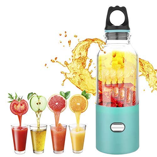 Portable Juicer Blender, XBrands Mini Travel Blender,USB Rechargeable Juicer Cup,Household Fruit Mixer, Personal Size Mixing Machine with Six Blades, Small Size Easy to Carry - Small Ice Cubes Become Smaller