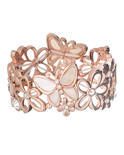 Jewelry Nexus Shell Butterfly & Flower Rose Gold-tone Designer Bracelet