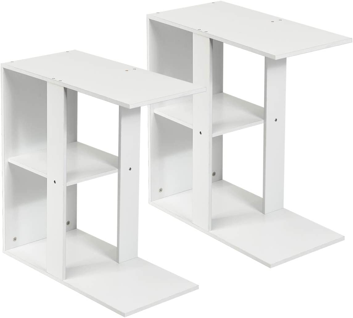 Giantex Side Table with Storage Shelf 3-Tier Small End Table for Living Room,Bedroom and Sofa Side Industrial Nightstand 2, White