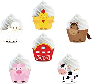 CC HOME 24 pcs Farm Animal Cupcake Wrappers for Baby Shower,Birthday Party, Wedding Party Decorations