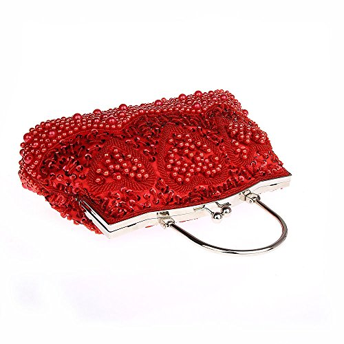 Women Lock Handbag Red Clutch Patterned Purse Sequinned Kissing Heart Pearl Beaded q1xBZWwZU