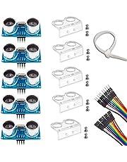 Ultrasonic Sensor, HC-SR04 Set of 5 Ultrasonic Distance Sensor Kits for Arduino UNO MEGA2560 Raspberry Pi, Dupont Jumper Wire Mounting Bracket EU042