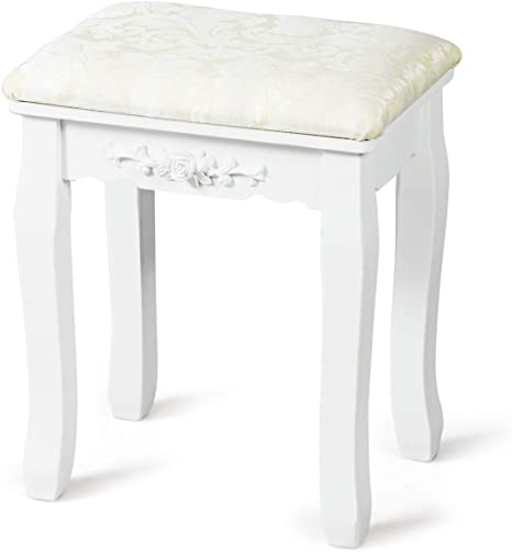 Amazon Com Giantex Vanity Stool Makeup Bench Dressing Stools Retro Wave Foot Floor Pad For Scratch Solid Pine Wood Legs Thick Padded Cushioned Chair Piano Seat Bathroom Bedroom Large Vanity Benches White Kitchen