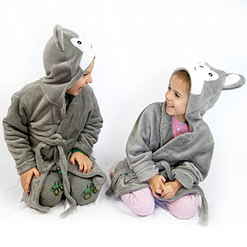 Hooded Fleece Robes for Toddlers Keeps Kids Cozy! Toddler Robe Calms Children! Cute and Warm Kids' Robe for Boys and Girls (Gray Wolf) by Happy Healthy Parent (Image #4)